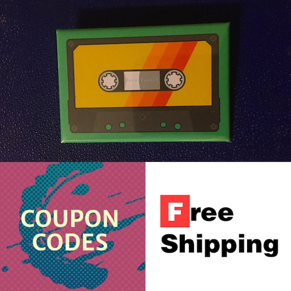 """Cassette Tape 2x3"""" Button Pin or Magnet, FREE SHIPPING"""