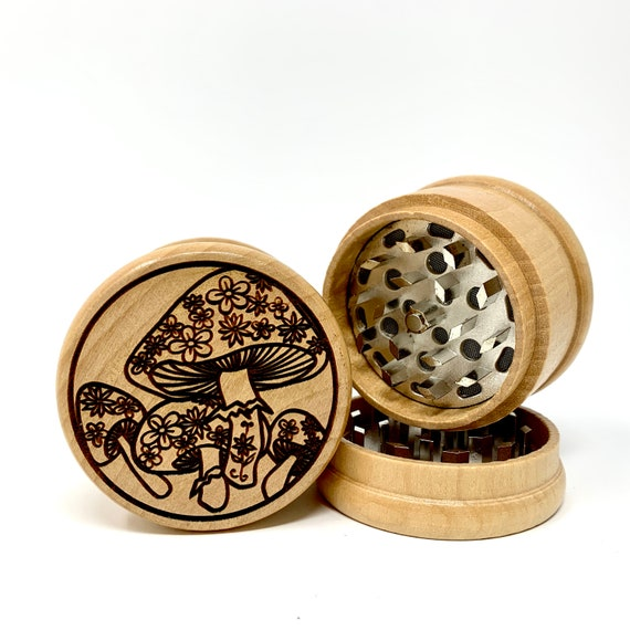 Vintage Psychedelic Mushroom - Herb Grinder 3pc Grinders Tobacco Spices 3 piece all wood set with sharp blades and sieve FREE SHIPPING