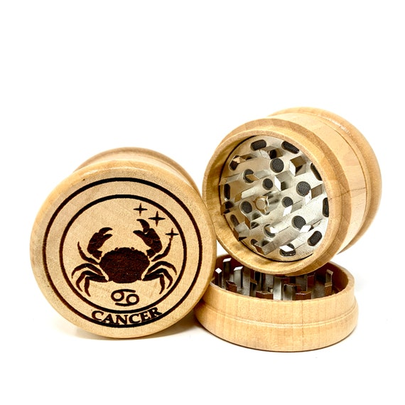 Cancer The Crab Star Sign Astrology - Herb Grinder Weed Grinders Tobacco Spices 3 piece all wood set sharp blades catcher FREE SHIPPING
