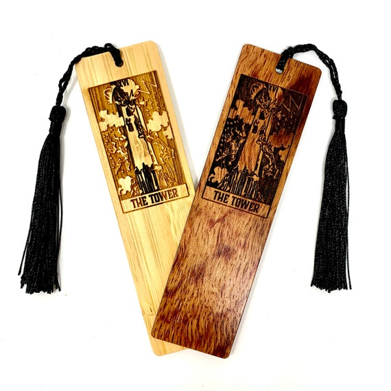 Wood Bookmark - Tarot 16 - The Tower - Bookmarks Bamboo or Rosewood, Engraved Real Wood Gift for Students or Friend