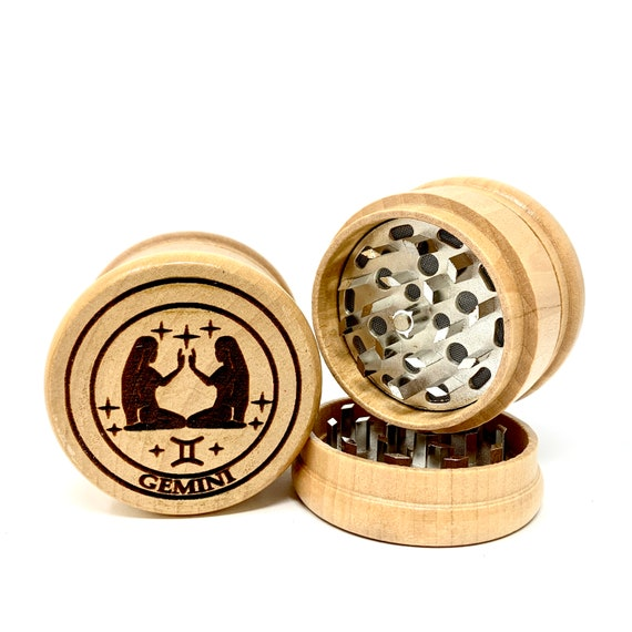 Gemini The Twins Star Sign Astrology - Herb Grinder Weed Grinders Tobacco Spices 3 piece all wood set sharp blades catcher FREE SHIPPING