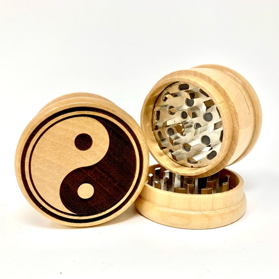 Yin Yang Symbol Design - Herb Grinder Weed Grinders Tobacco Spices 3 piece all wood set with sharp blades and sieve FREE SHIPPING