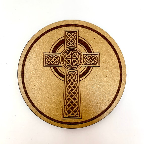 Drink Coasters - Irish Celtic Cross Wood Drink Coaster Set Home Decor Unique Gifts Housewarming Gift