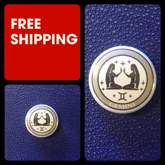 Gemini Astrology Sign, Zodiac Button Pin, FREE SHIPPING