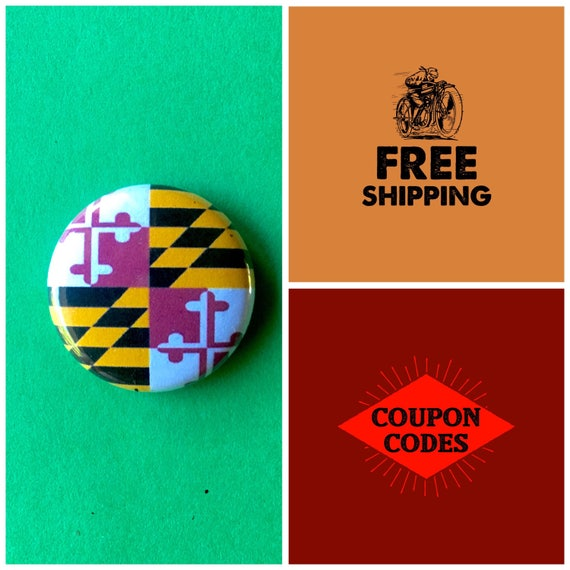 Maryland State Flag Button Pin or Magnet, FREE SHIPPING