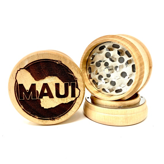 Maui Island Hawaiian Islands - Herb Grinder 3pc Grinders Tobacco Spices 3 piece all wood set with sharp blades and sieve FREE SHIPPING