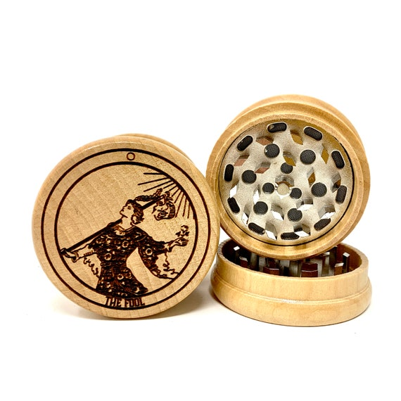 00 Tarot Deck Card - The Fool - Herb Grinder Weed Grinders Tobacco Spices 3 piece all wood set with sharp blades and sieve FREE SHIPPING