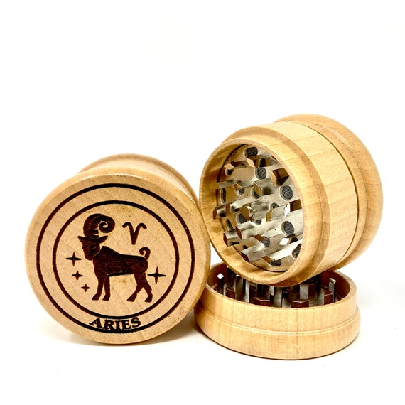Aries The Ram Star Sign Astrology - Herb Grinder Weed Grinders Tobacco Spices 3 piece all wood set with sharp blades and sieve FREE SHIPPING