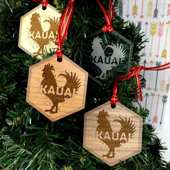 Kauai Chicken Hawaiian Christmas Tree Ornament, FREE SHIPPING