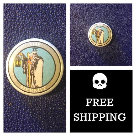 Tarot Card - The Hermit Button Pin, FREE SHIPPING