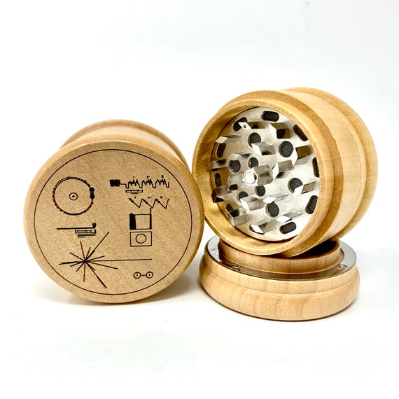 Herb Grinder - Vintage NASA Voyager Golden Record Art - 3pc Herb Grinders Herb Cutter Cutting and Grinding Metal Blades 2.5 Inch Travel Size