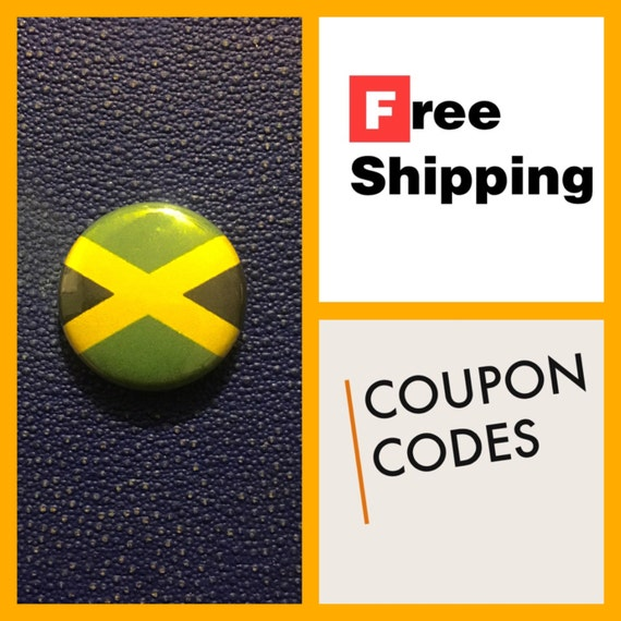 Jamaican Flag Button, FREE SHIPPING