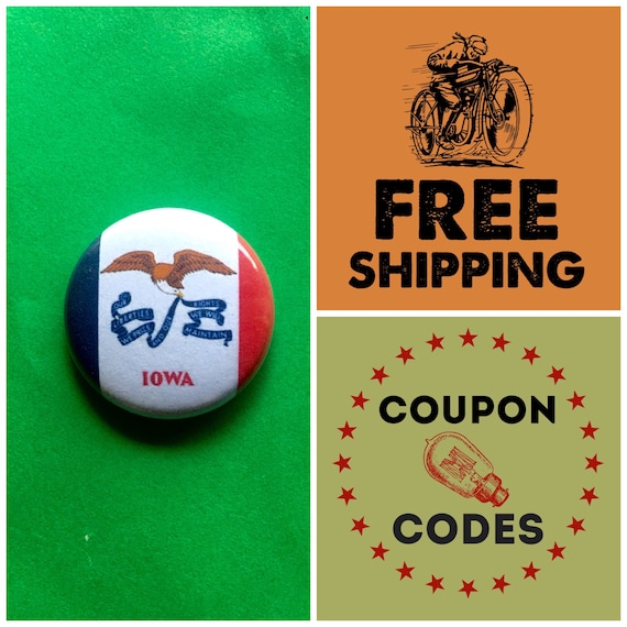 Iowa State Flag Button Pin or Magnet, FREE SHIPPING