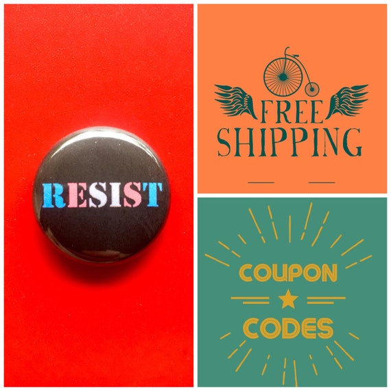 Trans Protest Resist Button Pin or Magnet, FREE SHIPPING