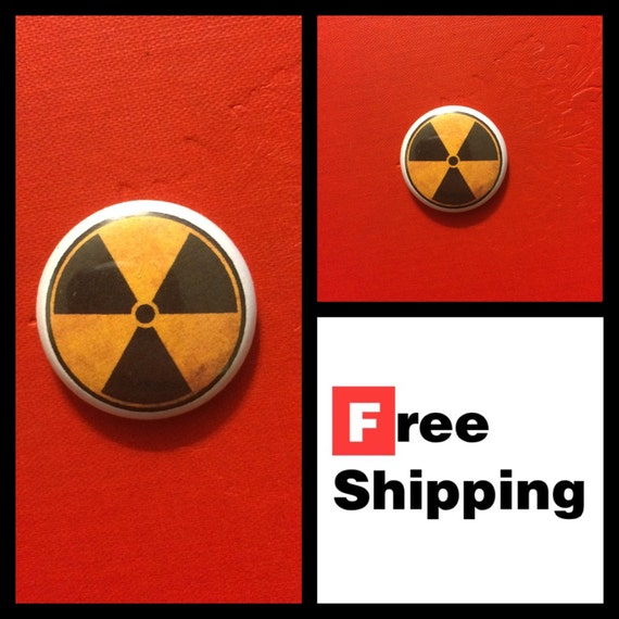 Radioactive Fallout Symbol Button, FREE SHIPPING