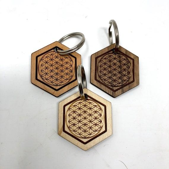 Sacred Geometry - Flower of Life Wood Key Chain, FREE SHIPPING