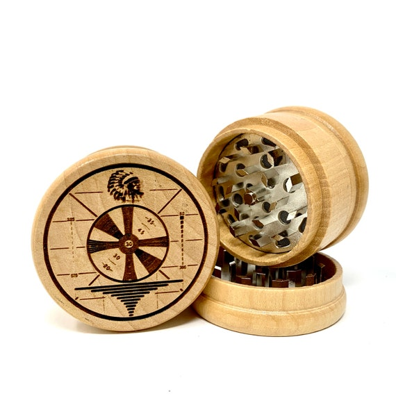 Retro TV Test Pattern - Herb Grinder Weed Grinders Tobacco Spices 3 piece all wood set with sharp blades and sieve FREE SHIPPING