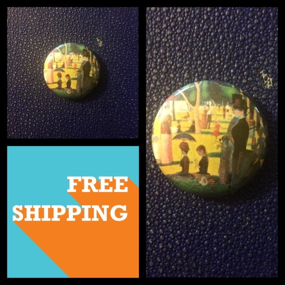 A Sunday Afternoon on the Island of La Grande Jatte, Seurat Painting Button Pin, FREE SHIPPING
