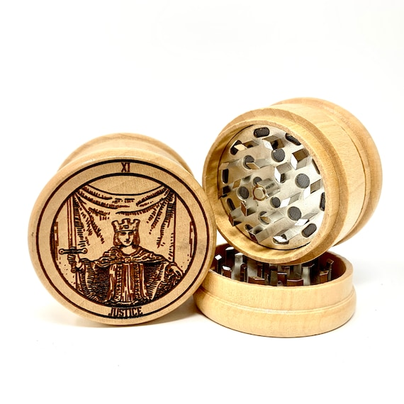 Herb Grinder - 11 Tarot Deck Card - Justice - 3pc Herb Grinders Herb Cutter Cutting and Grinding Metal Blades 2.5 Inch Travel Size