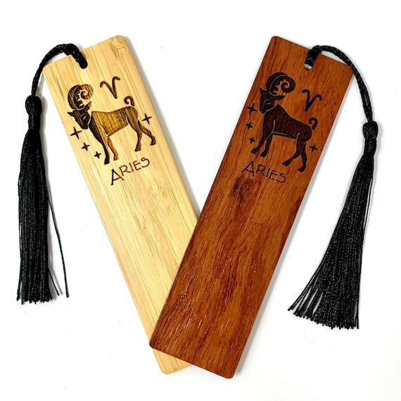 Astrology Sign - Aries The Ram - Wood Bookmark Bamboo or Rosewood, FREE SHIPPING