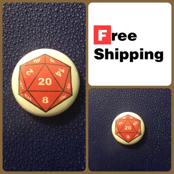 D&D D20 Button Pin, FREE SHIPPING - Coupon Codes Available