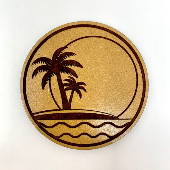 Island Palm Tree Sunset Design Drink Coasters Set, FREE SHIPPING