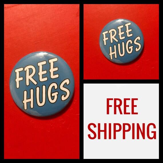 Free Hugs Button Pin, FREE SHIPPING