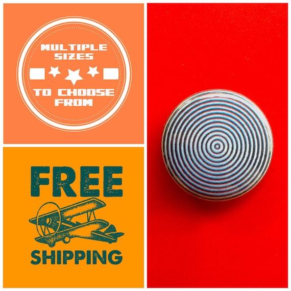 Round Circle Design Optical Illusion Button Pin, FREE SHIPPING