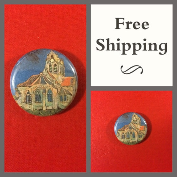 Van Gogh The Church at Auvers Painting Button Pin: FREE SHIPPING