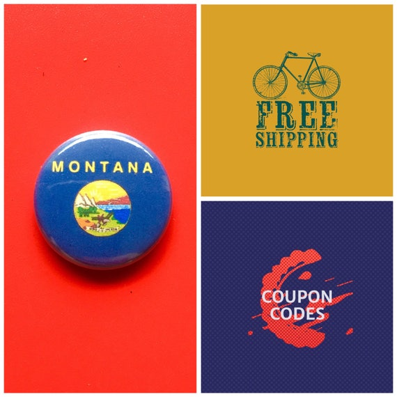 Montana State Flag Button Pin or Magnet, FREE SHIPPING