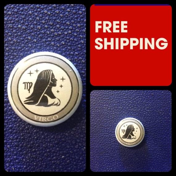 Virgo Astrology Sign, Zodiac Button Pin, FREE SHIPPING