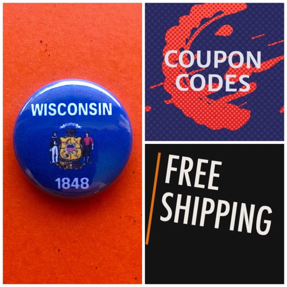 Wisconsin State Flag Button Pin or Magnet, FREE SHIPPING