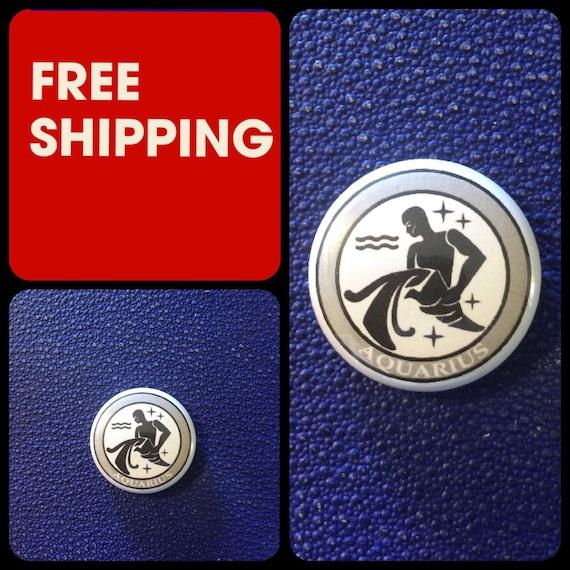Aquarius Astrology Sign, Zodiac Button Pin, FREE SHIPPING