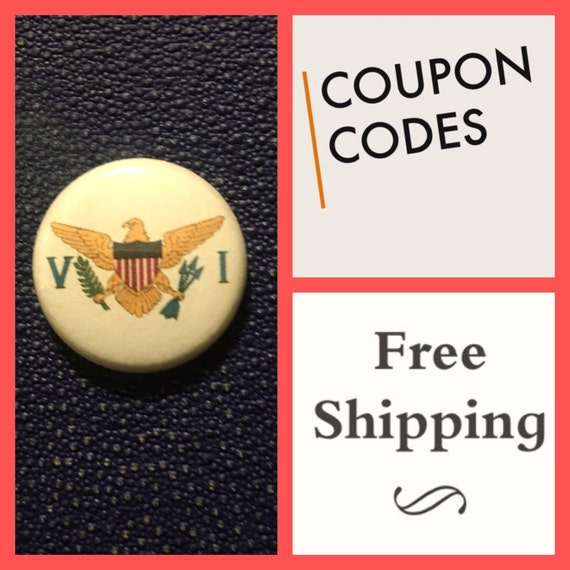 US Virgin Islands Flag Button Pin, FREE  SHIPPING &  Coupon Codes