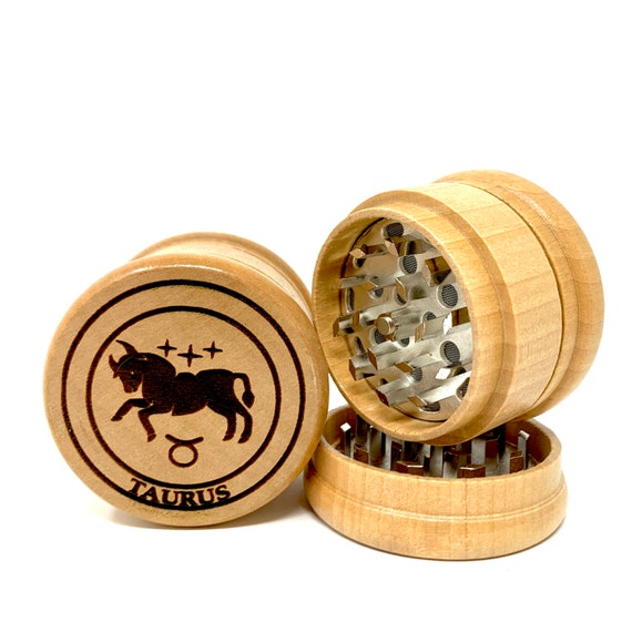 Taurus The Bull Star Sign Astrology - Herb Grinder Weed Grinders Tobacco Spices 3 piece all wood set with sharp blades catcher FREE SHIPPING