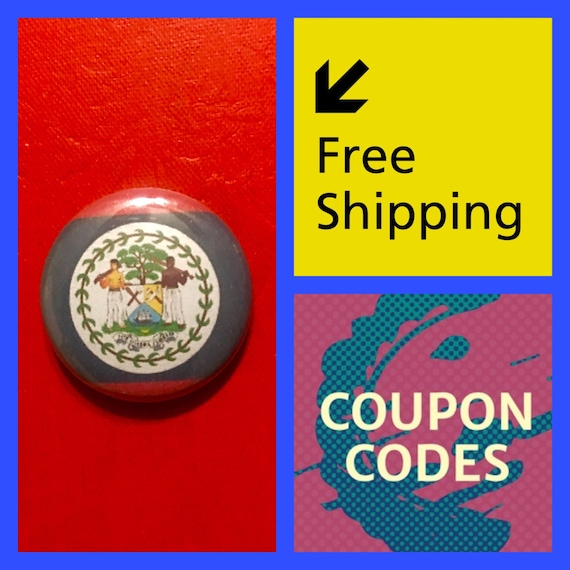 Belize Flag Button Pin, FREE SHIPPING