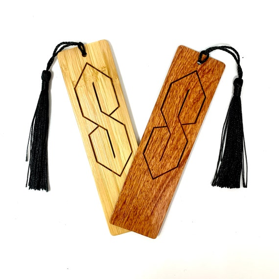 Wood Bookmark - Cool Super S Thing Stussy Graffiti Bookmarks Bamboo or Rosewood, Engraved Real Wood Gift for Students or Friend