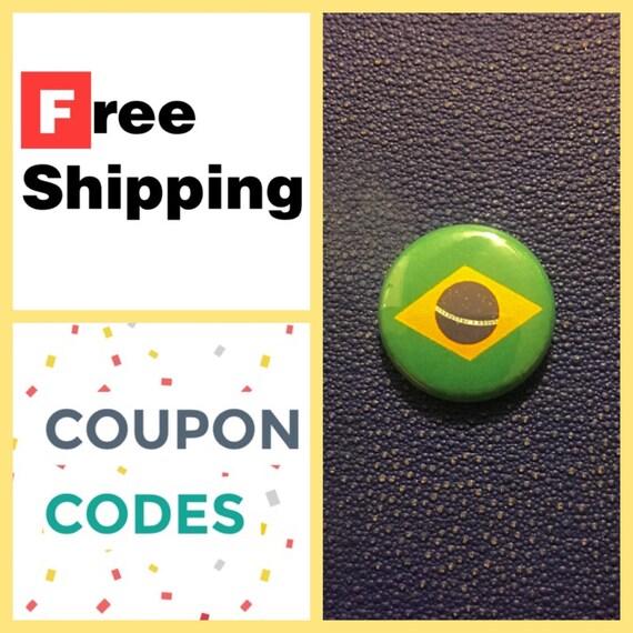 Brazilian Flag Button Pin, FREE SHIPPING