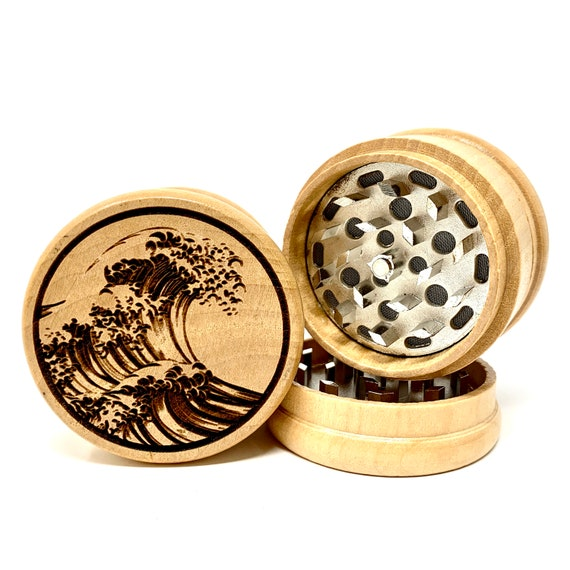 Great Wave Off Kanagawa Japanese Print - Herb Grinder Weed Grinders Tobacco Spices 3 piece all wood set with sharp blades FREE SHIPPING