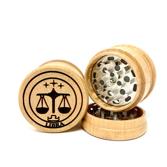 Libra The Scales Star Sign Astrology - Herb Grinder Weed Grinders Tobacco Spices 3 piece all wood set sharp blades catcher FREE SHIPPING