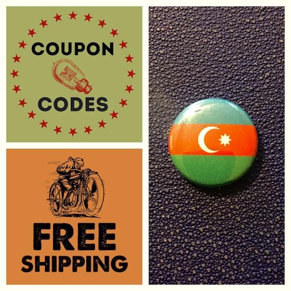 Azerbaijan Flag Button Pin, FREE SHIPPING