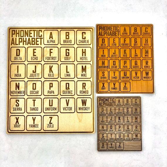 Phonetic Alphabet Cheat Sheet Wood Art - FREE SHIPPING