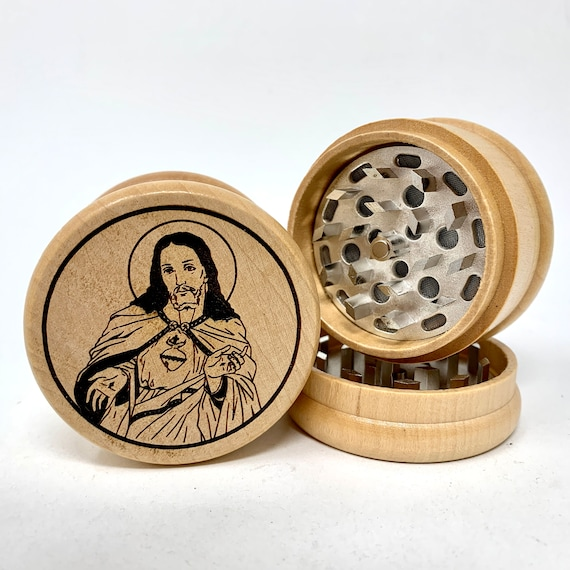 Herb Grinder - Jesus Sacred Heart of Christ - 3pc Herb Grinders Herb Cutter Cutting and Grinding Metal Blades 2.5 Inch Travel Size