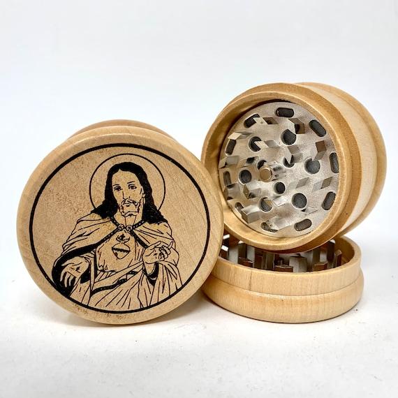 Herb Grinder - Jesus Sacred Heart of Christ - 3pc Herb Grinders Herb Cutter Cutting and Grinding Metal Blades 2.5 Inch Travel Size