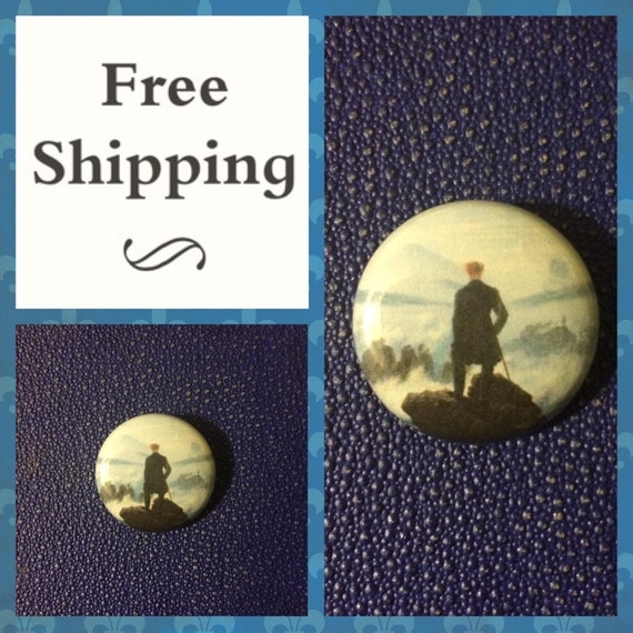 Wanderer Above a Sea of Fog, German Romantic Art Button Pin FREE SHIPPING