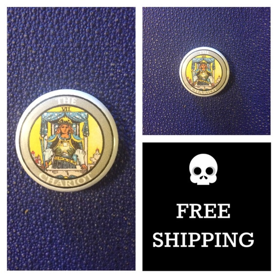 Tarot Card - The Chariot Button Pin, FREE SHIPPING