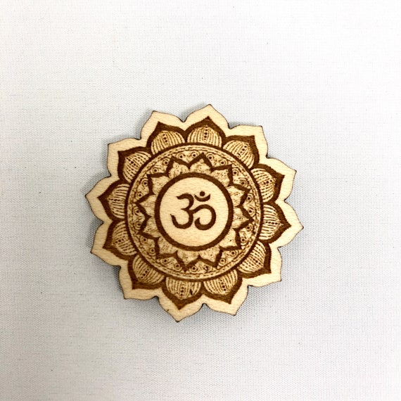 Wood Magnet - Om Flower Mandala Mediation, Auhm Design, FREE SHIPPING