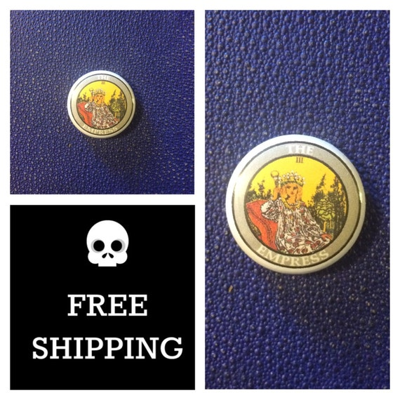Tarot Card - The Empress Button Pin, FREE SHIPPING