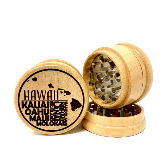 Hawaiian Island Names Design - Herb Grinder Weed Grinders Tobacco Spices 3 piece all wood set with sharp blades and sieve FREE SHIPPING