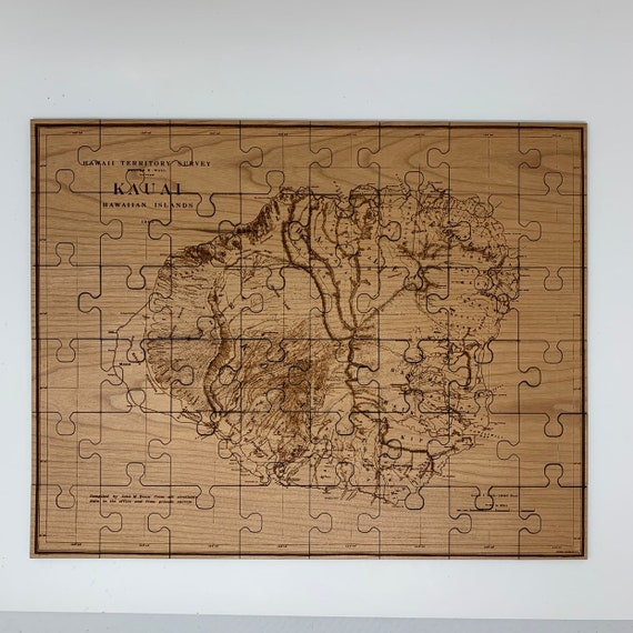 Jigsaw Puzzle, Wooden Kauai Map, vintage reproduction  1903, Hawaii Territory Survey, FREE SHIPPING